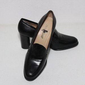 Hunt Club Karen Black Leather Heeled Loafers